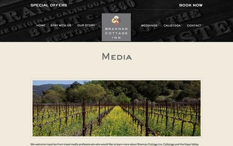 Screenshot of Press Page brannancottageinn.com - Brannan Cottage Inn Press Contact Information - Calistoga, CA - captured June 2, 2017