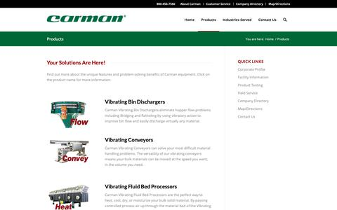 Screenshot of Products Page carmanindustries.com - Products - Carman Industries - captured Sept. 27, 2018