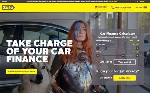 Screenshot of Home Page carloan4u.co.uk - Zuto Car Finance & Car Loans - UK's No1 for Online Car Finance - captured July 3, 2015