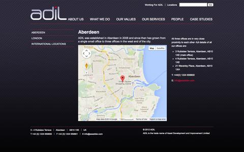 Screenshot of Locations Page assetdev.com - Aberdeen - ADIL - captured Oct. 1, 2014