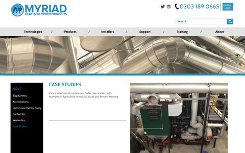 Screenshot of Case Studies Page myriadceg.com - Case Studies   Myriad Heat & Power Products - captured Nov. 3, 2017