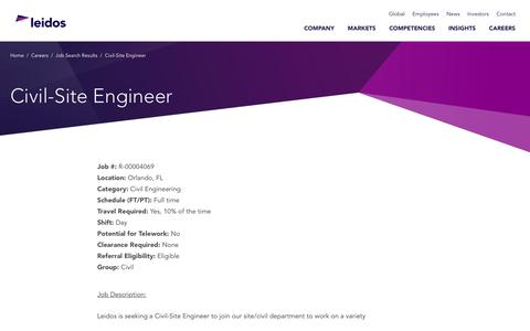 Screenshot of Jobs Page leidos.com - Civil-Site Engineer in Orlando, FL - Leidos - captured Jan. 29, 2019