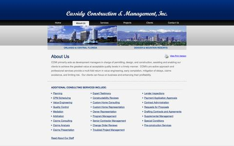 Screenshot of About Page cassidycm.com - About Us - Cassidy Construction Management Company - captured Oct. 2, 2014