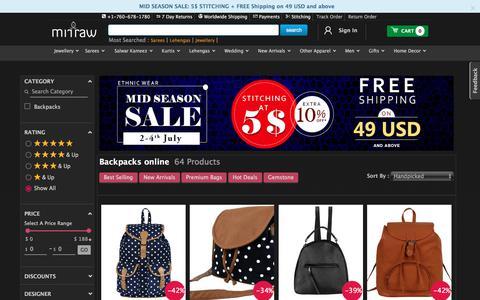 Screenshot of mirraw.com - Buy Backpacks Online | Backpacks for girls | Women travel backpack shopping - captured July 2, 2017