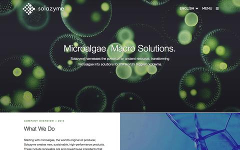Screenshot of Home Page solazyme.com - Solazyme   At Solazyme we transform microalgae, the smallest of organisms, into solutions for the worlds biggest problems. - captured Jan. 15, 2015