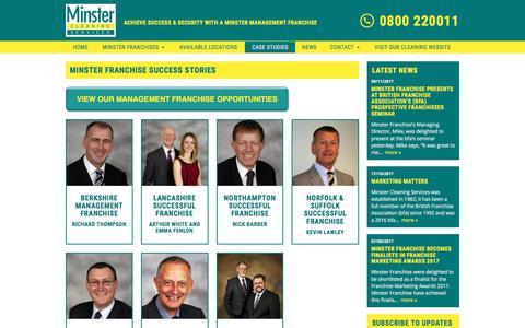 Screenshot of Case Studies Page minsterfranchise.co.uk - Management Franchise Case Studies | Minster Management Franchises | - captured Nov. 14, 2017