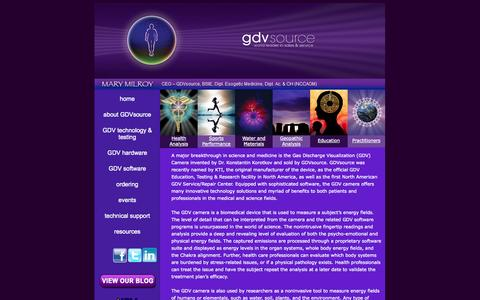 Screenshot of Home Page gdvsource.com - Kirlian & GDV Photography Camera | GDV Source - captured Oct. 1, 2014