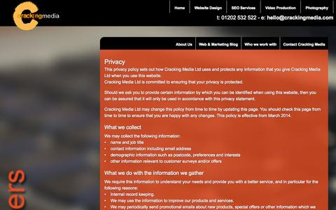 Screenshot of Privacy Page crackingmedia.com - Privacy Policy - captured Sept. 30, 2014