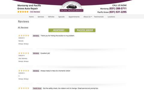 Screenshot of Testimonials Page pacificmotorservice.com - Testimonials  | Pacific Motor Service - captured Sept. 26, 2014
