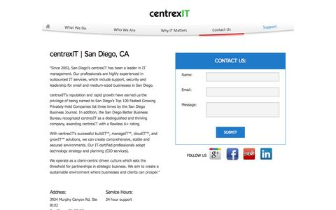Screenshot of Contact Page centrexit.com - Contact Us | San Diego's Leader in IT Consulting | CentrexIT.com - captured Sept. 30, 2014