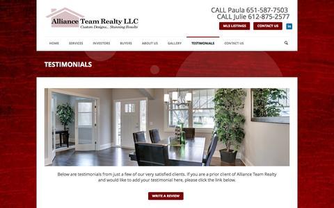 Screenshot of Testimonials Page allianceteamrealty.net - Homes For Sale Minneapolis   Realtor Minneapolis   TESTIMONIALS - captured Sept. 30, 2014