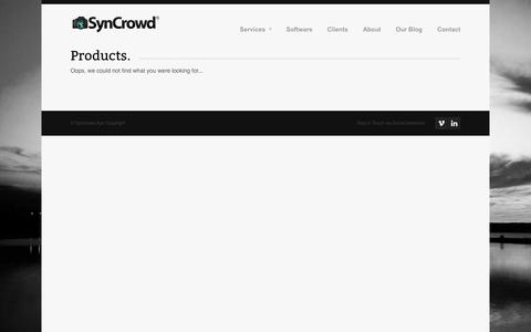 Screenshot of Products Page syncrowd.com - Products Archives - Syncrowd - captured Oct. 9, 2014