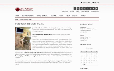 Screenshot of About Page justgrillinflorida.com - Outdoor Grill Store Tampa, Outdoor Kitchen Store Florida | Just Grillin - Florida's Grilling & Outdoor Kitchen Store! - captured Oct. 6, 2014