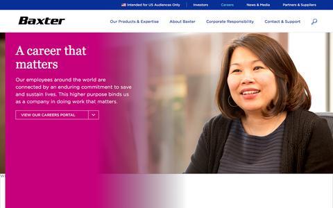 Screenshot of Jobs Page baxter.com - Careers: Healthcare & Biotech Jobs | Baxter - captured Sept. 2, 2016