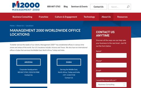Screenshot of Locations Page mgmt2000.com - Locations | Worldwide Business Consulting | Management 2000 - captured Oct. 2, 2018