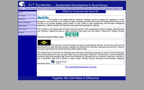 Screenshot of Testimonials Page g7systems.com - G7 Systems - Customers Testimonies - captured Sept. 26, 2014