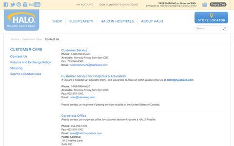 Screenshot of Contact Page halosleep.com - Contact Us - Customer Care - HALO SleepSack Products - captured Oct. 4, 2016