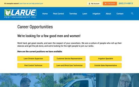 Screenshot of Jobs Page laruepest.com - Larue Pest Management, Inc. says... - captured Sept. 27, 2018