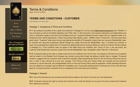 Screenshot of Terms Page trumpcard.in - Trumpcard - The Youngest Deals and Discount Card of Jaipur - captured Oct. 9, 2014