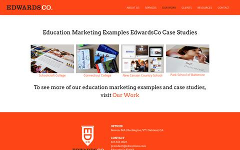 Screenshot of Case Studies Page edwardsco.com - Education Marketing Examples | EdwardsCo Case Studies - captured July 16, 2018