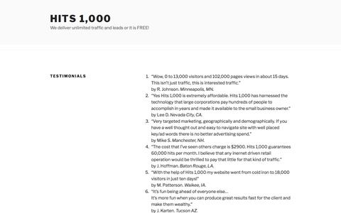 Testimonials | Hits 1,000