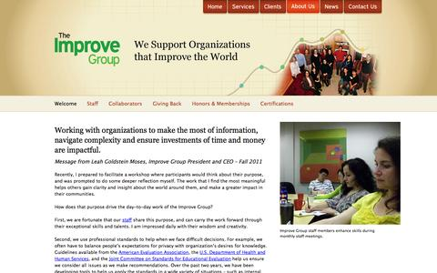 Screenshot of About Page theimprovegroup.com - The Improve Group | Research, Evaluation, Planning, Coaching - captured Oct. 7, 2014