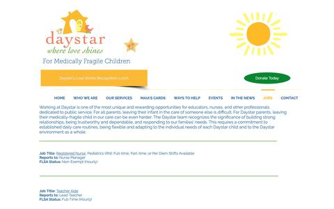 Screenshot of Jobs Page daystarkids.org - Daystar Kids - Where Love Shines | JOBS - captured Oct. 7, 2018