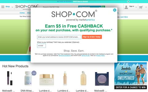 Screenshot of Home Page shop.com - SHOP.COM – Online Shopping Marketplace: Clothes, Shoes, Beauty, Electronics and More - captured Aug. 19, 2016