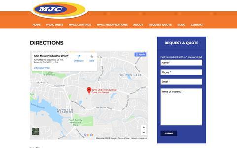 Screenshot of Maps & Directions Page mjcinc.com - Directions to MJC Inc | HVAC Modifications | Custom HVAC Equipment - captured July 4, 2018