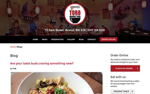 Screenshot of Blog toronoodlebar.co.uk - Blogs | Toro Noodle Bar - captured Aug. 19, 2016