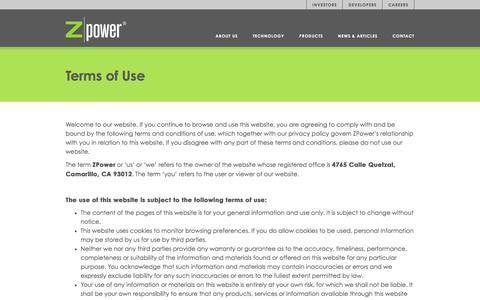 Screenshot of Terms Page zpowerbattery.com - Terms of Use - ZPower Battery - captured Nov. 29, 2016