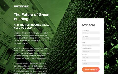 Screenshot of Landing Page procore.com - The Future of Green Building - captured April 17, 2018