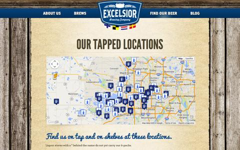 Screenshot of Locations Page excelsiorbrew.com - Find Our Bottles, Kegs and Tapped Beer Here - Excelsior Brewing Company - captured Oct. 3, 2014