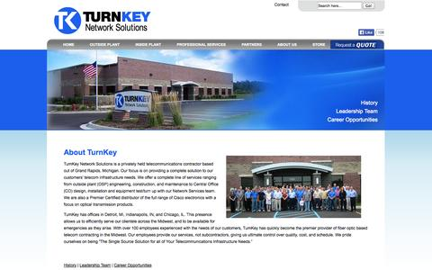 Screenshot of About Page tkns.net - Turnkey Network Solutions | About Us - captured Oct. 7, 2014