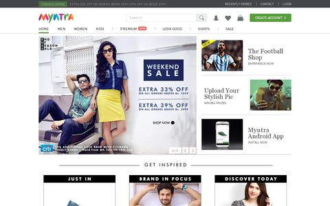 Screenshot of Home Page myntra.com - Online Shopping India - Shop Online for Branded Shoes, Clothing & Accessories in India | Myntra.com - captured July 11, 2014