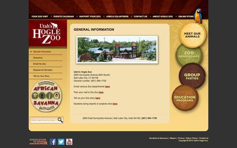 Screenshot of Contact Page hoglezoo.org - General Information « Utah's Hogle Zoo - captured Sept. 19, 2014