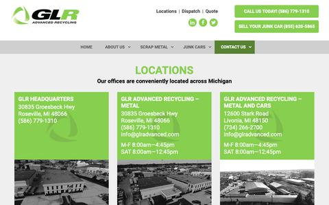Screenshot of Locations Page glradvanced.com - GLR Advanced Recycling Detroit Scrap Metal locations - captured Oct. 21, 2018