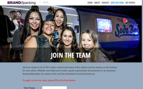 Screenshot of Signup Page brandspanking.co.nz - JOIN THE TEAM   BRAND SPANKING - captured Sept. 30, 2014