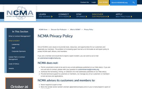 Screenshot of Privacy Page ncmahq.org - Privacy Policy - captured Oct. 13, 2017