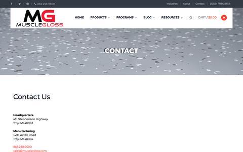 Screenshot of Contact Page musclegloss.com - Contact   MuscleGloss - captured June 16, 2017