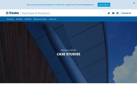 Screenshot of Case Studies Page trimble.com - Case Studies - Trimble Real Estate and Workplace Solutions - captured Nov. 12, 2018