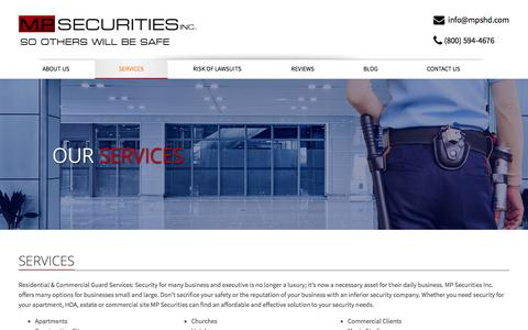 Screenshot of Services Page mpshd.com - MP Securities Inc. Security Guard Services | mpsecurity - captured Nov. 2, 2014