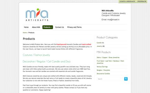 Screenshot of Products Page miaart.in - Products | MIA Articrafts - captured Oct. 3, 2014