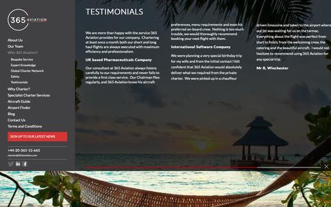 Screenshot of Testimonials Page 365aviation.com - 365 Aviation | 365 Aviation | Client Testimonials - captured Oct. 18, 2018