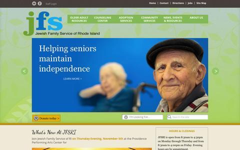 Screenshot of Home Page jfsri.org - Jewish Family Service, Inc.   - captured Oct. 9, 2015