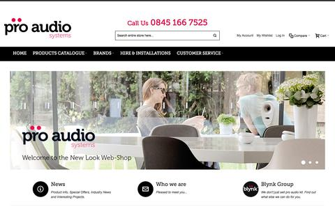 Screenshot of Home Page proaudiosystems.co.uk - Welcome - Pro Audio Systems - captured Jan. 27, 2016