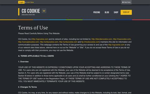 Screenshot of Terms Page cgcookie.com - Terms of Use - CG Cookie - captured Sept. 18, 2014