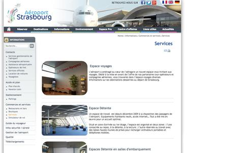 Screenshot of Services Page strasbourg.aeroport.fr - Informations : Services - Aéroport de Strasbourg - captured Sept. 25, 2014