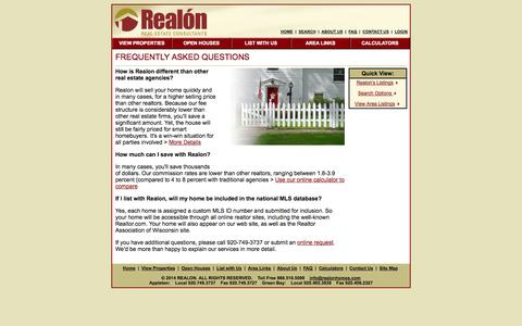 Screenshot of FAQ Page realonhomes.com - Realon Real Estate Agency, Realtors in Appleton, Oshkosh, Green Bay, Wisconsin (WI) - captured Oct. 7, 2014