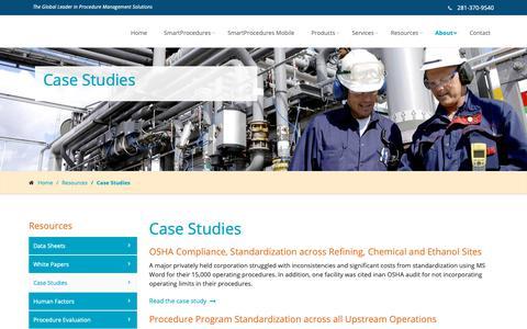 Screenshot of Case Studies Page smartprocedures.com - ATR | Case Studies - captured Nov. 12, 2018